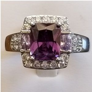 3.7ct Amethyst and White Sapphire Ring Size 12